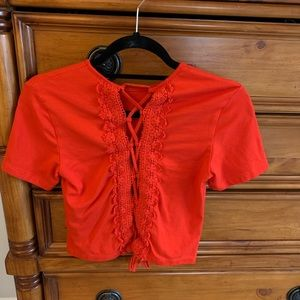 H&M lace up back red crop top